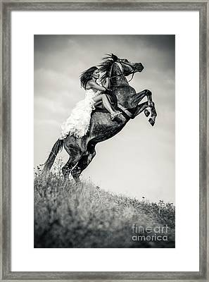 Framed Print featuring the photograph Woman In Dress Riding Chestnut Black Rearing Stallion by Dimitar Hristov