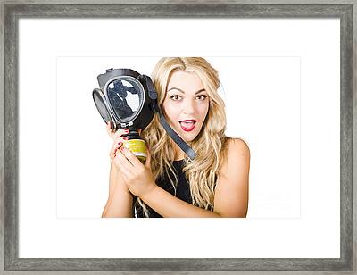 Woman In Fear Holding Gas Mask On White Background Framed Print by Jorgo Photography - Wall Art Gallery