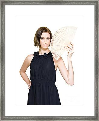 Woman In Formal Dress Holding Oriental Fan Framed Print by Jorgo Photography - Wall Art Gallery