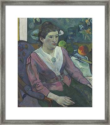 Woman In Front Of A Still Life By Cezanne Framed Print
