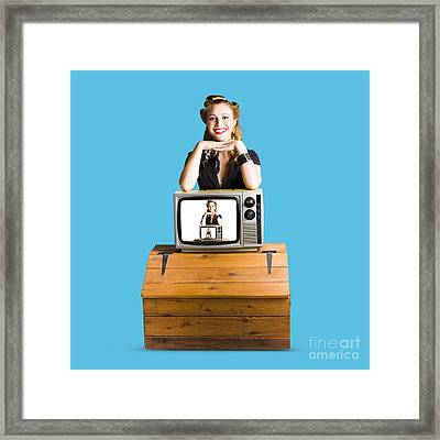 Woman  In Front Of Tv Camera Framed Print by Jorgo Photography - Wall Art Gallery