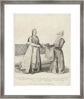 Woman In Galata Gets A Veil, Jean-etienne Liotard, 1745 Framed Print by Celestial Images