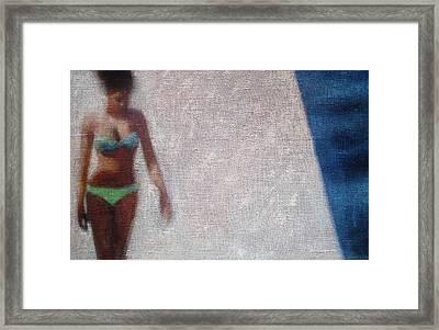 Woman In Green Bikini Framed Print by Geoff Greene