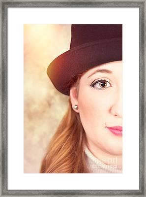 Woman In Hat Framed Print by Amanda Elwell