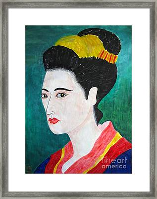 Woman In Kyoto By Taikan Framed Print by Taikan Nishimoto