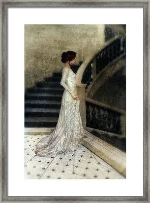 Woman In Lace Gown On Staircase Framed Print by Jill Battaglia