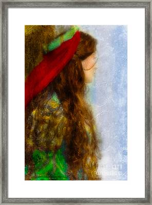 Woman In Medieval Gown Framed Print by Jill Battaglia