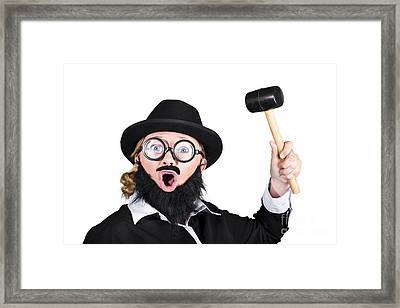 Woman In Men's Clothing Holding Mallet Framed Print by Jorgo Photography - Wall Art Gallery