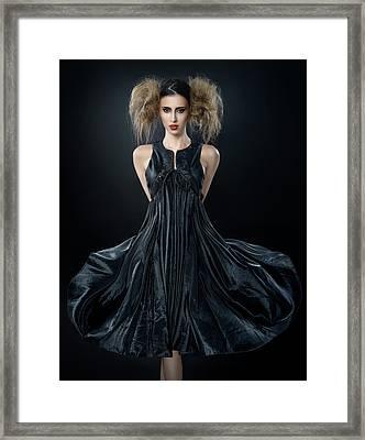 Woman In Messy Tease Updo In Black Dress Framed Print