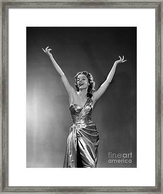 Woman In Metallic Dress, C.1950s Framed Print by Debrocke/ClassicStock