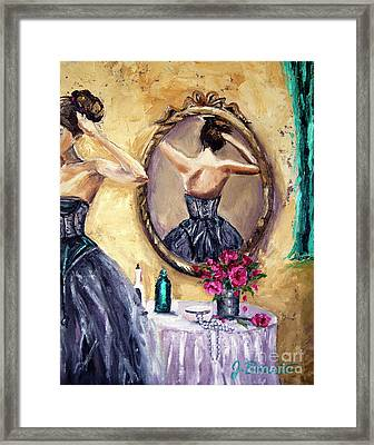 Woman In Mirror Framed Print