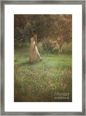Woman In Olive Orchard Framed Print by Mythja Photography