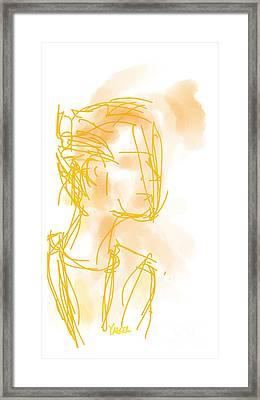 Woman In Orange Framed Print by Robert Yaeger