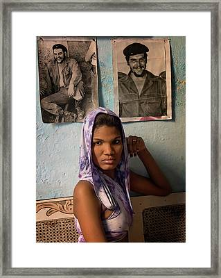 Woman In Purple Havana Cuba Framed Print