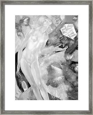 Woman In Rain Framed Print by - Ziusutra