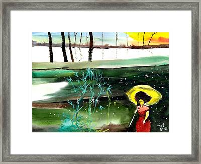 Woman In Red Framed Print by Anil Nene
