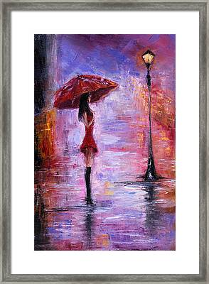 Woman In Red Framed Print by Boyan Dimitrov