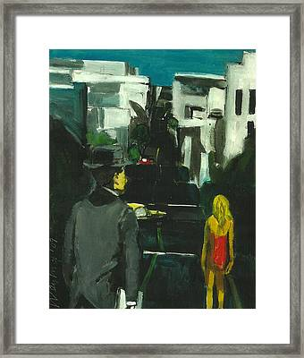 Woman In Red Dress Streets Of San Francisco  Framed Print by Harry  Weisburd