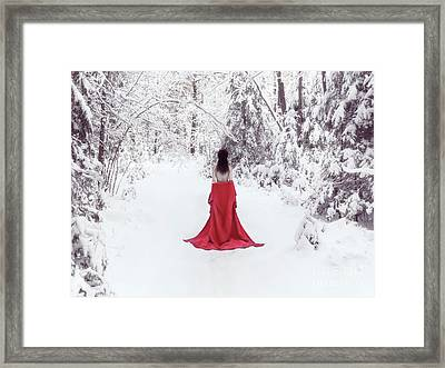 Woman In Red Kimono And Bare Shoulders Walking Away In Snow Framed Print