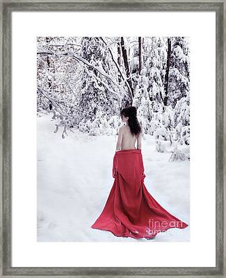 Woman In Red Kimono Lowered Down To Her Waist Walking Away In Sn Framed Print