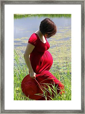 Woman  In Red Framed Print by Sophie Vigneault