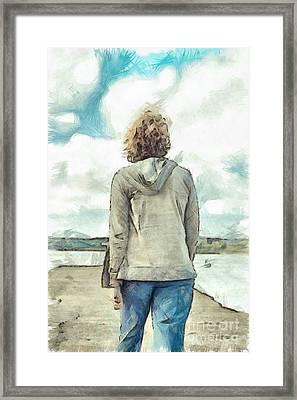 Woman In Rustico Harbor Prince Edward Island Framed Print