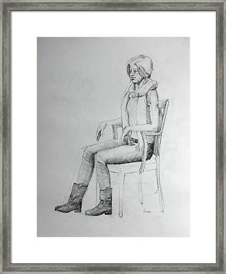 Woman In Scarf Framed Print