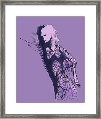 Framed Print featuring the drawing Woman In Shadows by Keith A Link