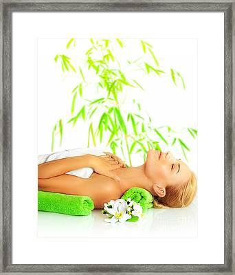 Woman In Spa Salon Framed Print