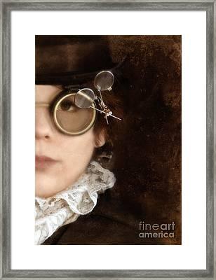 Woman In Steampunk Clothing  Framed Print by Jill Battaglia