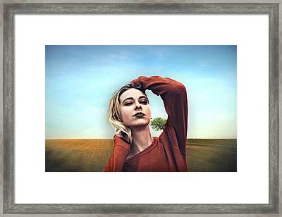 Woman In Summer Vintage Framed Print
