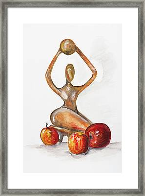 Woman In The African Style  With Red Apples Framed Print