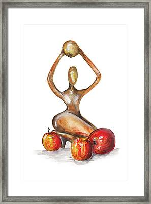 Woman In The African Style  With Red Apples Isolated Framed Print