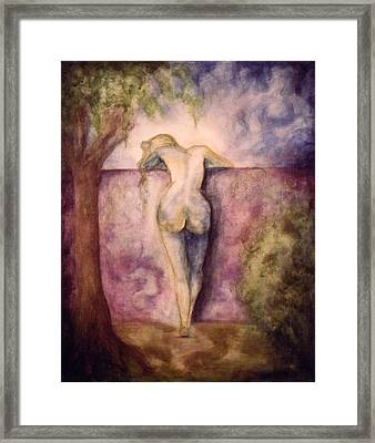 Woman In The Garden 2 Framed Print by Halle Treanor