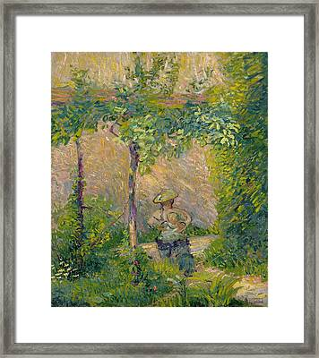 Woman In Hat Framed Print featuring the painting Woman In The Garden by Hippolyte Petitjean