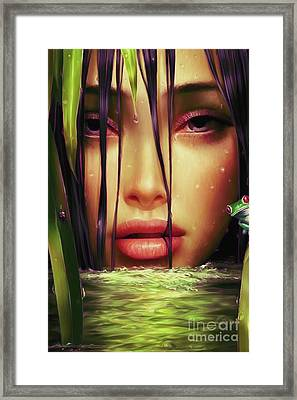 Woman In The Lake  Framed Print