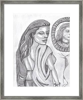 Woman In The Mirror Framed Print by Richard Heyman