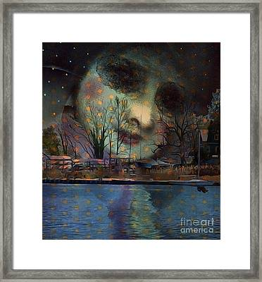 Framed Print featuring the digital art Woman In The Moon by Alexis Rotella