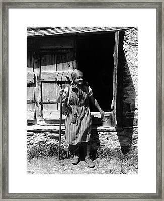 Woman In Traditional Swiss Costume Framed Print