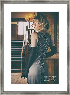 Woman In Twenties Dress Framed Print by Amanda Elwell