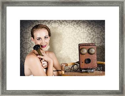 Woman In Vintage Daydream With Operator Phone Framed Print by Jorgo Photography - Wall Art Gallery