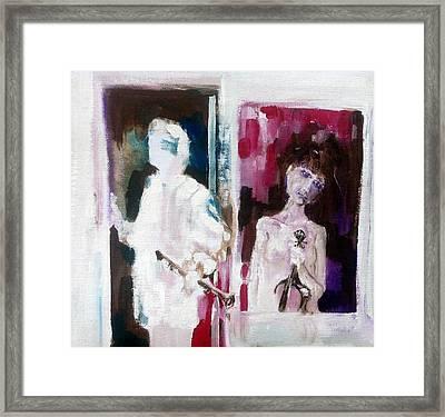 Woman In Window   Man In Door  Framed Print by Chris Walker