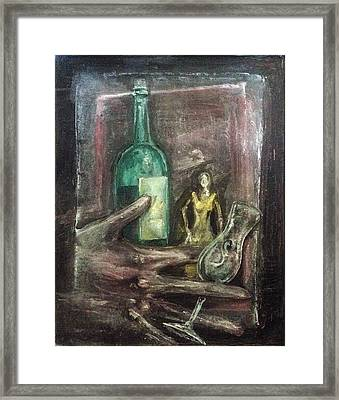 Framed Print featuring the painting Woman In Yellow Dress by Keith A Link