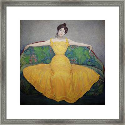 Woman In Yellow Dress Framed Print
