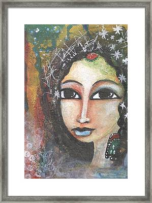 Framed Print featuring the mixed media Woman - Indian by Prerna Poojara