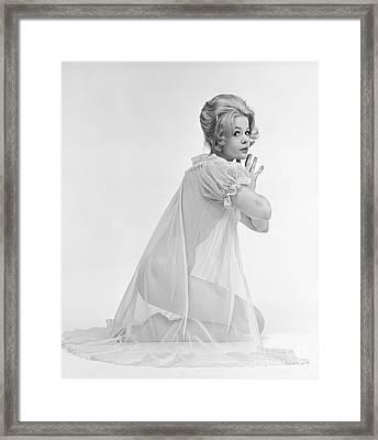 Woman Kneeling In Sheer Gown, C.1960s Framed Print
