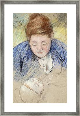 Woman Leaning Over Baby Framed Print by Mary Stevenson Cassatt