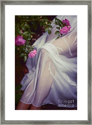 Woman Legs Under Wet Summer Dress In Rose Garden Art Photo Print Framed Print