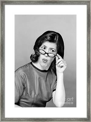 Woman Looking Puzzled, C. 1960s Framed Print by R. Block/ClassicStock