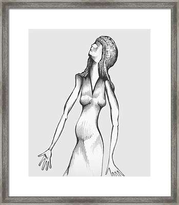 Framed Print featuring the drawing Woman Looking To The Sky by Keith A Link